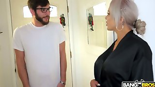After Giving BJ In The Bathroom German Blondie Nina Elle Rides Stiff Prick