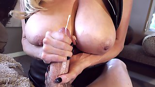 Big Natural Tits Cowgirl Cherishing Long Dick With Handjob