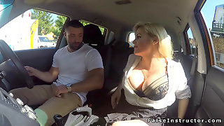 Very Hot Busty Examiner Bangs In Car