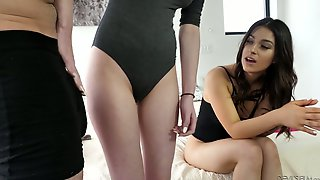 Attractive Teen Lily Moon And Her Yummy Girlfriend Are Fucked By One Horny Guy