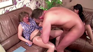 Horny Couple Fucks Right In Front Of The Mother And She Joins In