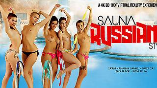 Alex Black & Kattie Gold & Rihanna Samuel & Silvia Dellai & Sweet Cat In Sauna Russian Style Part 1 - VRBangers