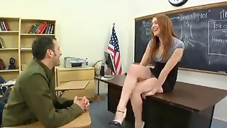 Transsexual Teacher With Red Hair And Stud Have Sex Lesson