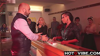 Spanish Squirting Party. Busty Spanish Babes Squirt At A Party In A Bar