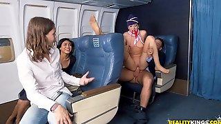A Lucky Guy Gets Handjob From A Flight Attendant Nikki Knightly