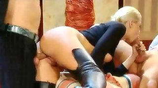 Blonde In Leather Boots Has Incredible Threesome