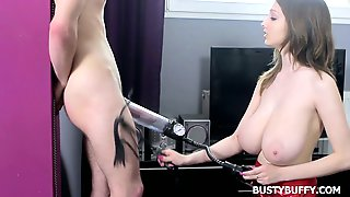 Mega Busty Lucie Wild Is Pumping A Dick Before A Good Blowjob
