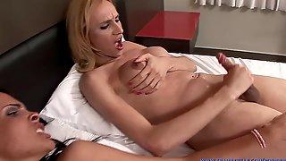 HOT TS SEX! Danielly Marinetto & Sheron Fox Suck, Fuck Then Jerk Off & Cum!