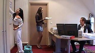 Boss Fucks Secretary And Maid