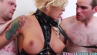 Leather Clad TS Goddess Gets Spitroasted By Two Studs