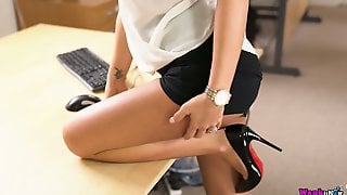 Sexy Secretary With Tram Stamp Natalia Forrest Is Sucking A Dick In The Office