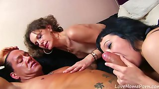Trim Mommy And Teenager Goth Share Teenage Stud