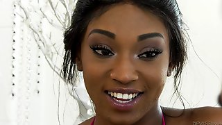 Another Slender Ebony Teen Does Cowgirl And Making A White Guy Cum