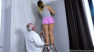 Old Fart Enjoys Fucking Pretty Hot Young Blonde Daniella Margot