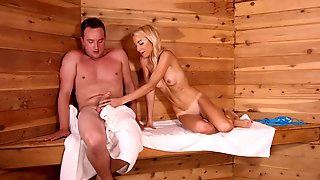 Slender Blonde Babe Fucks Stranger In Sauna