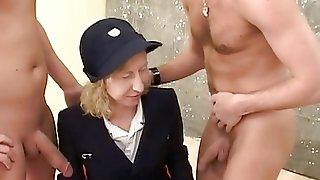 Mature Lady In Retro Uniform Pleasures Classic Hardcore Threesome Fuck