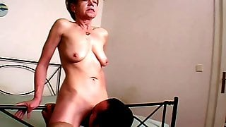 Skinny Retro Blonde Granny Excites From Cunnilingus By Young Fucker