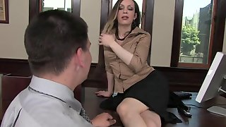 Naughty Shemale Secretary Seduces And Sucks Off Her Horny Boss