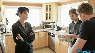 Unshaved Pussy And Tight Asshole Of Lusty Housewife Are Both Fucked (FMM)