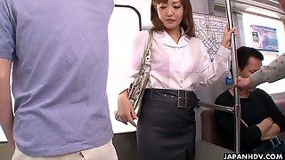 Tired Chestnut Haired Office Clerk Mami Asakura Is Fucked In Subway Train