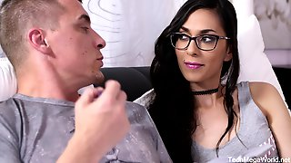 Raunchy With Glasses Enjoys Hard Bang Copulation