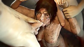 3D Lara Croft Doing Everything To Survive