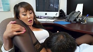 Asian Secretary Tiffany Rain Gets Her Pussy Eaten By Boss