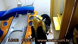 Blonde Horny Hot Teen Masturbates In Public Solarium