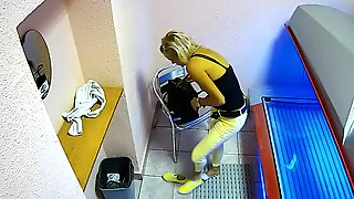 Real Public Solarium Cam Hot Blonde Girl Playing Pussy