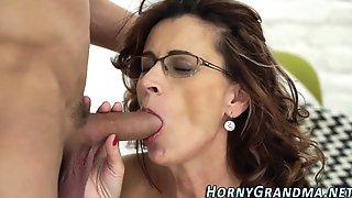 Horny Grandma Blows Cock