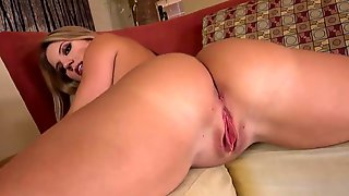 Solo Girl Spreads Her Perfect Big Ass Close Up & Rides A Dildo Chair