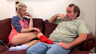 A Horny Teen In Ankle Socks Seduces An Old Fat Man. What A Slut!