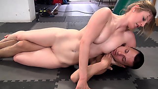 Guy Dominated By Strong Girl In Mixed Wrestling