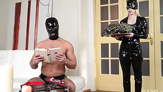 Masked Slave Fucks His Domina That Is Wearing A Latex Outfit