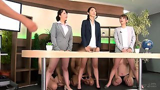 Elegant Oriental Babes Enjoying Wild Group Sex In The Office