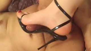 Black Barely Strappy Heels ( Heeljob Shoejob Cumshot )