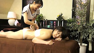 Hot Asian Milf Engages In Lesbian Love With A Young Masseuse