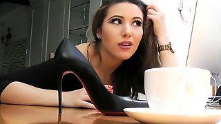 Elegant Brunette Teen In High Heels Reveals Her Perfect Feet