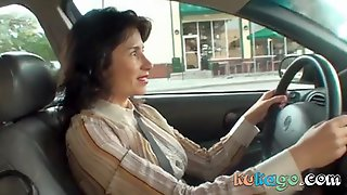 Horny Brunette Woman In The Car