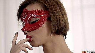 Masked Teen Brunette In Pantyhose Alicia Poz Gets Cum Sprayed