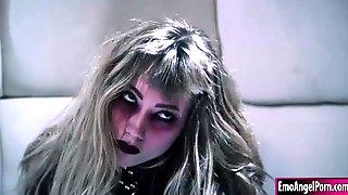 Crazy Goth Teen Nympho Getting Her Deepthroat Cock Treatment