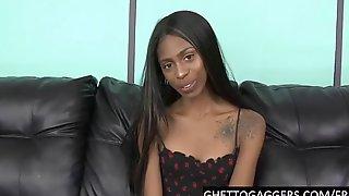 Cute Black Sub Takes 2 White Cocks Deep Down Her Throat
