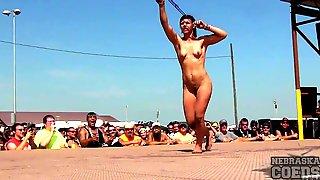 Naked girl on spanking machine