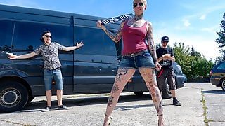 German Tattooed Cougar Get Nailed Hardcore In The Bums Bus