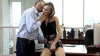 Skinny Secretary Jillian Janson Takes Cumshots After A Steamy Sex With Her Boss