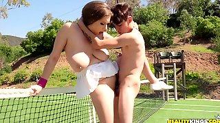 Big Boobed Brunette Alex Chance Is Pleasuring Hardcore Fuck On Tennis Court