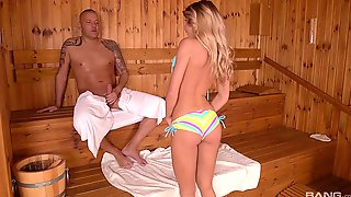 Blonde Babe Tequila Girl Rides And Sucks A Cock In A Sauna