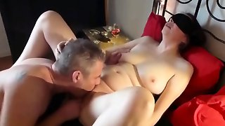 Blindfolded Mature Wife In Stockings Gets Shared By Two Guys