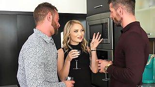 Slutty Blonde Babe Dakota Skye Gets Two Cocks And All Of Their Cum