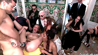 Chained Brunette Slut Gets Anal At Party